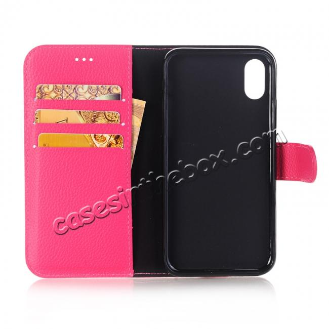 on sale Lichee Pattern PU Leather Protective Cover Case for iPhone X - Rose Red