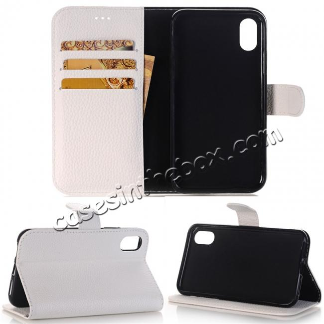 wholesale Lichee Pattern PU Leather Protective Cover Case for iPhone X - White