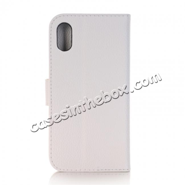 discount Lichee Pattern PU Leather Protective Cover Case for iPhone X - White