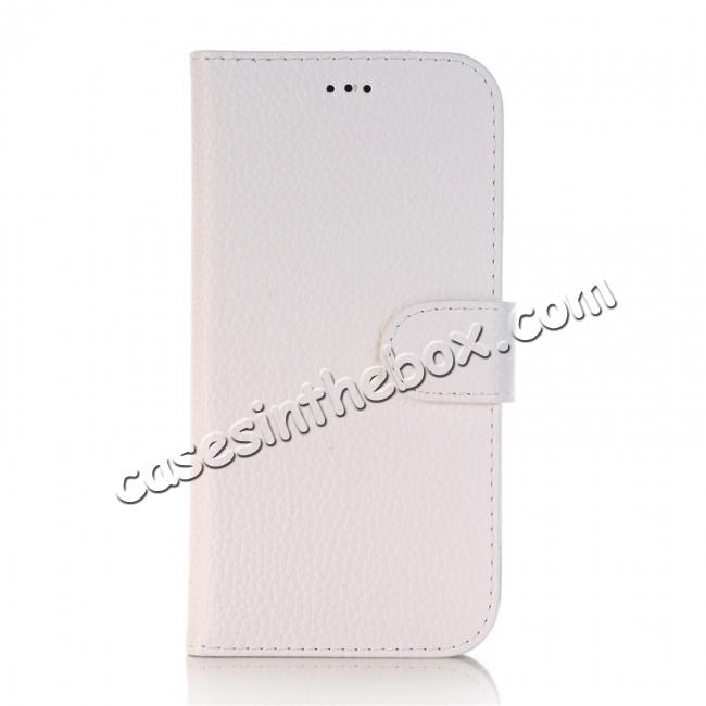 cheap Lichee Pattern PU Leather Protective Cover Case for iPhone X - White