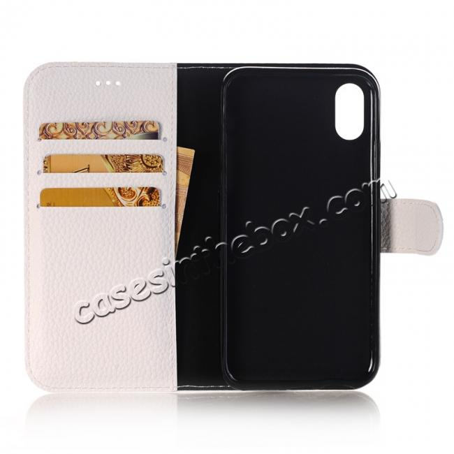 on sale Lichee Pattern PU Leather Protective Cover Case for iPhone X - White