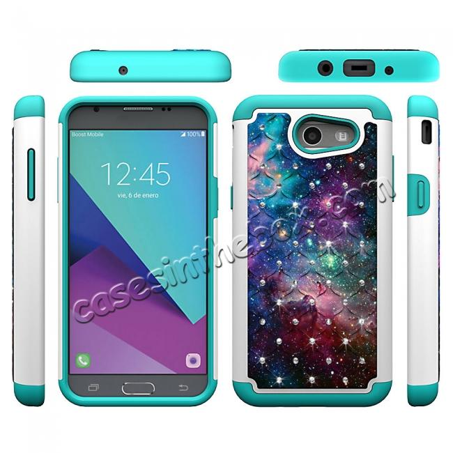 top quality Luxury Diamond Bling Hybrid Armor Protective Case For Samsung Galaxy J3 Emerge / J3 2017 - Nebula