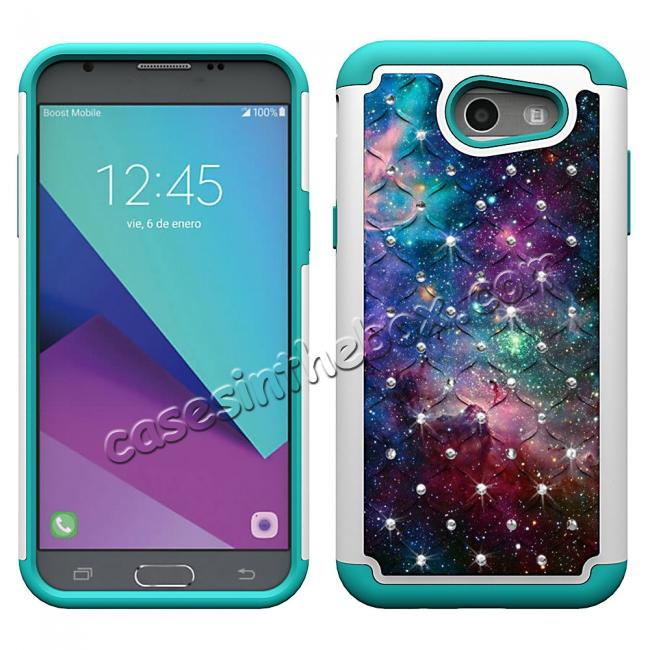 discount Luxury Diamond Bling Hybrid Armor Protective Case For Samsung Galaxy J3 Emerge / J3 2017 - Nebula
