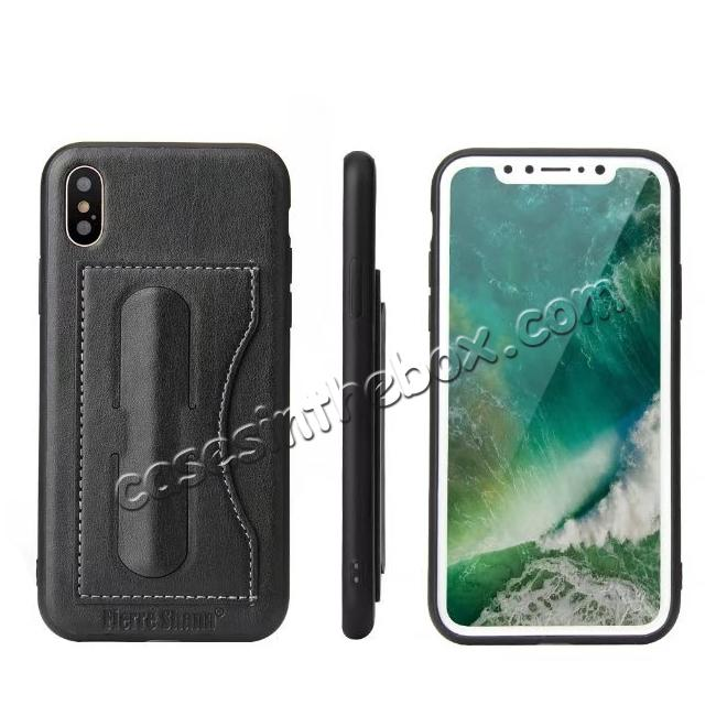 wholesale Luxury PU Leather Card Slot Back Case With Kickstand for iPhone X - Black