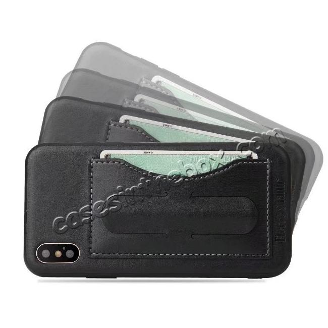 cheap Luxury PU Leather Card Slot Back Case With Kickstand for iPhone X - Black