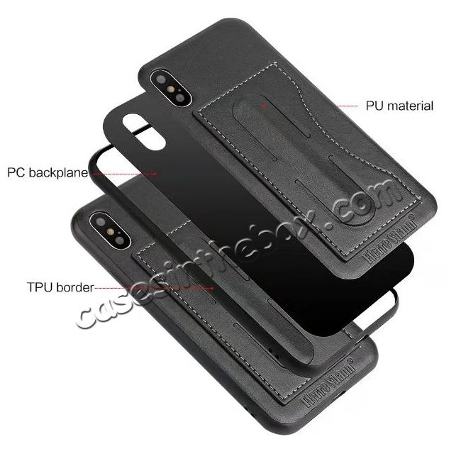 top quality Luxury PU Leather Card Slot Back Case With Kickstand for iPhone X - Black