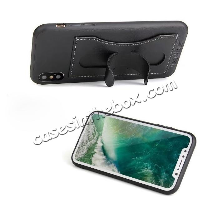 discount Luxury PU Leather Card Slot Back Case With Kickstand for iPhone X - Black
