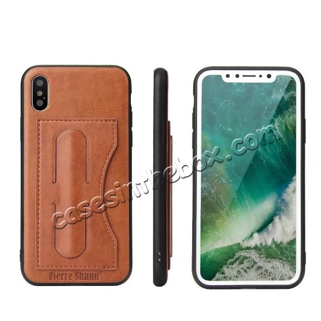 wholesale Luxury PU Leather Card Slot Back Case With Kickstand for iPhone X - Brown
