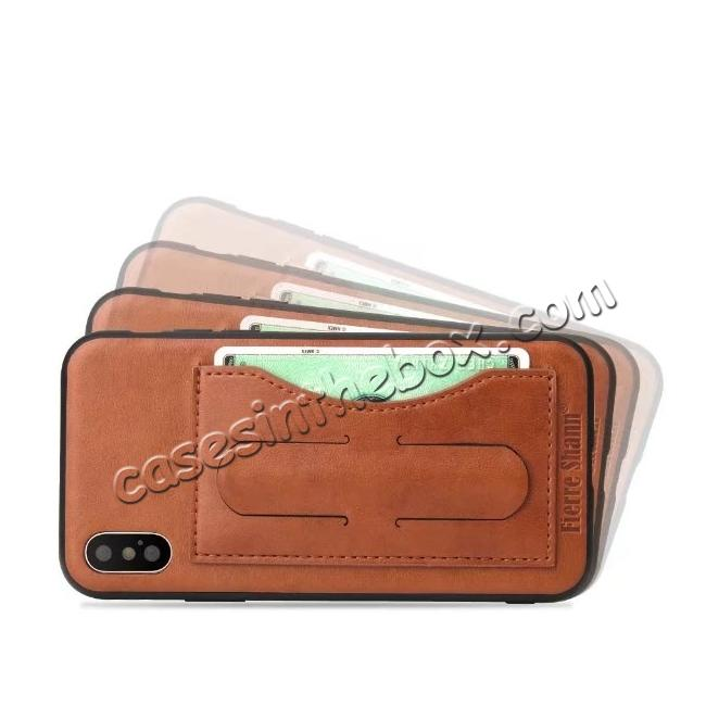 cheap Luxury PU Leather Card Slot Back Case With Kickstand for iPhone X - Brown