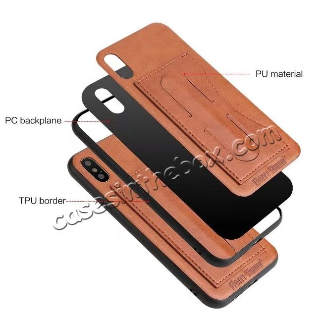 top quality Luxury PU Leather Card Slot Back Case With Kickstand for iPhone X - Brown