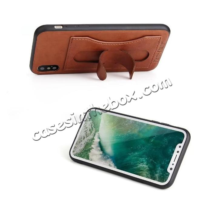 discount Luxury PU Leather Card Slot Back Case With Kickstand for iPhone X - Brown