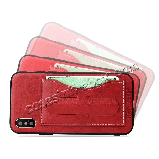 top quality Luxury PU Leather Card Slot Back Case With Kickstand for iPhone X - Red