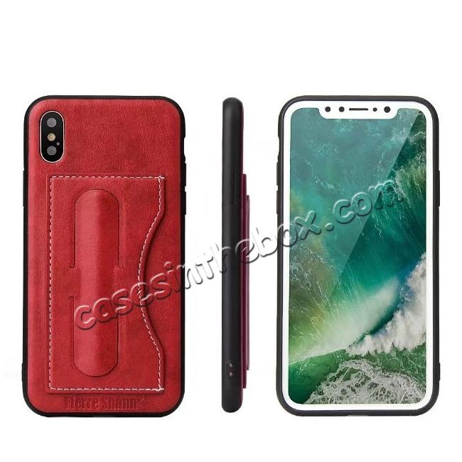wholesale Luxury PU Leather Card Slot Back Case With Kickstand for iPhone X - Red