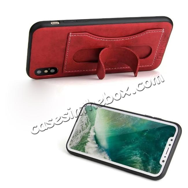 discount Luxury PU Leather Card Slot Back Case With Kickstand for iPhone X - Red