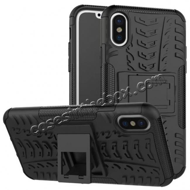 wholesale PC+TPU Shockproof Stand Hybrid Armor Rubber Cover Case For iPhone X - Black