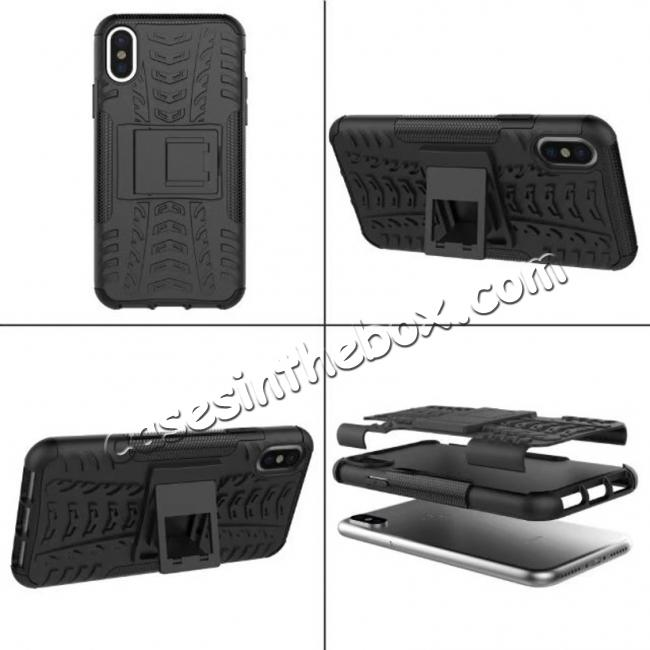 cheap PC+TPU Shockproof Stand Hybrid Armor Rubber Cover Case For iPhone X - Black