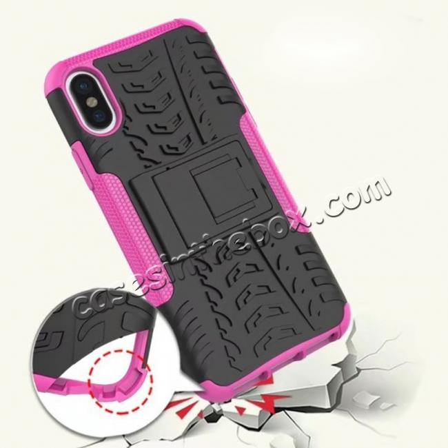 top quality PC+TPU Shockproof Stand Hybrid Armor Rubber Cover Case For iPhone X - Hot Pink