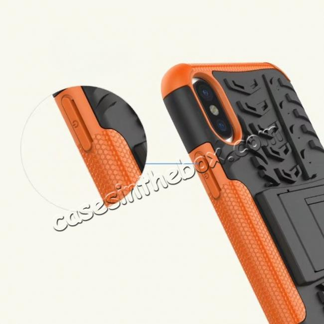 best price PC+TPU Shockproof Stand Hybrid Armor Rubber Cover Case For iPhone X - Orange