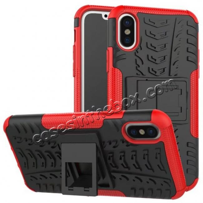 wholesale PC+TPU Shockproof Stand Hybrid Armor Rubber Cover Case For iPhone X - Red