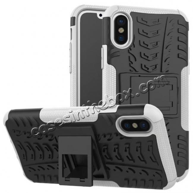 wholesale PC+TPU Shockproof Stand Hybrid Armor Rubber Cover Case For iPhone X - White