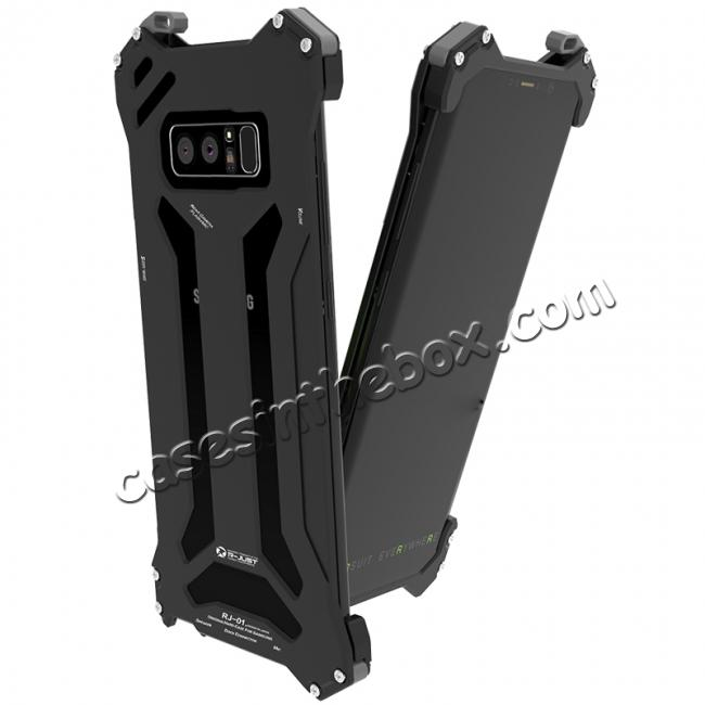 cheap R-JUST Gundam Series Aluminum Metal Shockproof Case for Samsung Galaxy Note 8 - Black