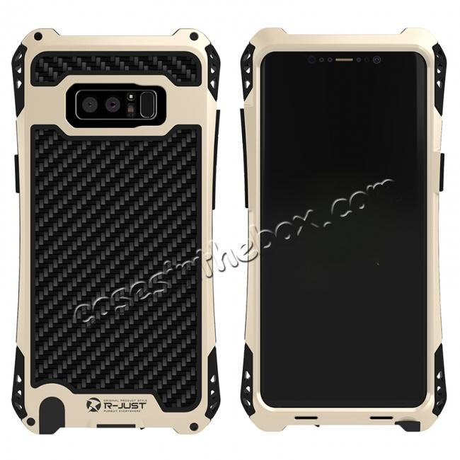 wholesale R-just Powerful Shockproof Dirt Proof Metal Aluminum Case for Samsung Galaxy Note 8 - Black&Gold