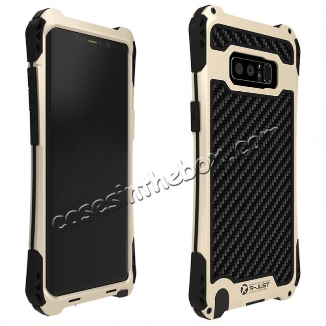 discount R-just Powerful Shockproof Dirt Proof Metal Aluminum Case for Samsung Galaxy Note 8 - Black&Gold