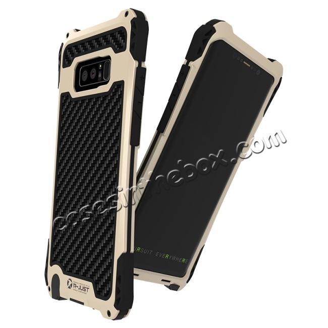 top quality R-just Powerful Shockproof Dirt Proof Metal Aluminum Case for Samsung Galaxy Note 8 - Black&Gold