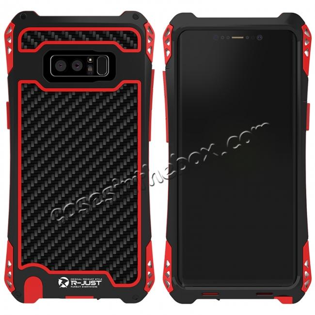 wholesale R-just Powerful Shockproof Dirt Proof Metal Aluminum Case for Samsung Galaxy Note 8 - Black&Red