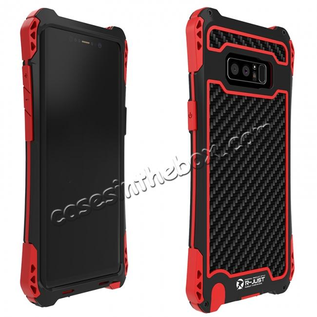 discount R-just Powerful Shockproof Dirt Proof Metal Aluminum Case for Samsung Galaxy Note 8 - Black&Red