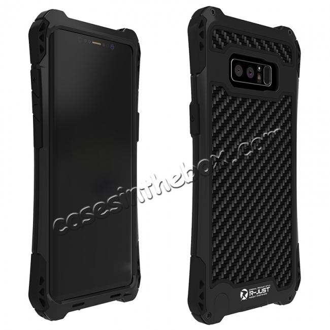 discount R-just Powerful Shockproof Dirt Proof Metal Aluminum Case for Samsung Galaxy Note 8 - Black