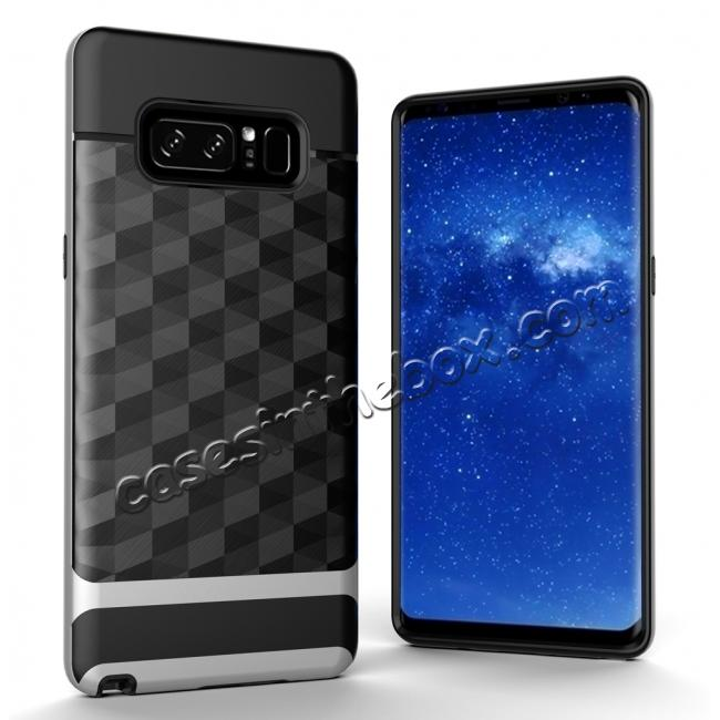 wholesale Shock-Absorption Rubber TPU Hybrid Hard Bumper Protective Case for Samsung Galaxy Note 8 - Silver