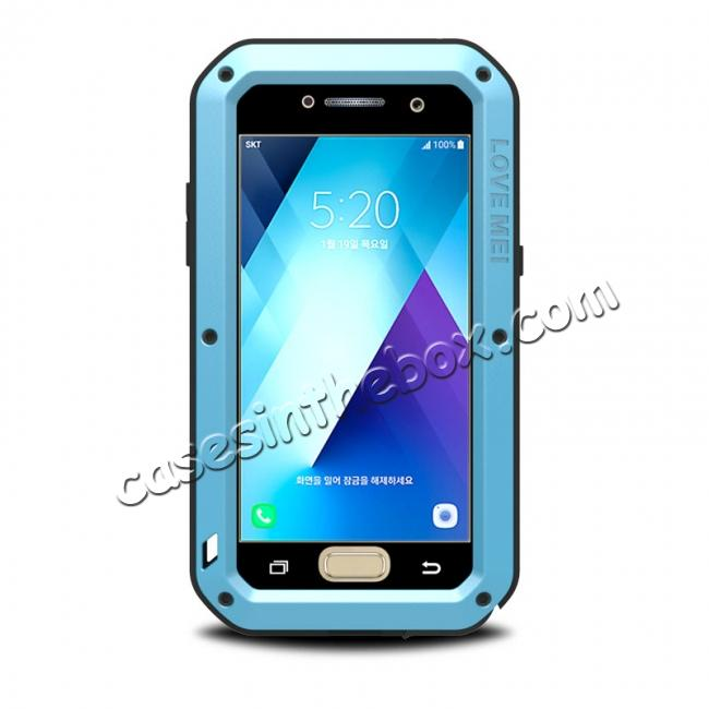 wholesale Shockproof Dustproof Waterproof Aluminum Tempered Glass Case for Samsung Galaxy A5 (2017) - Blue