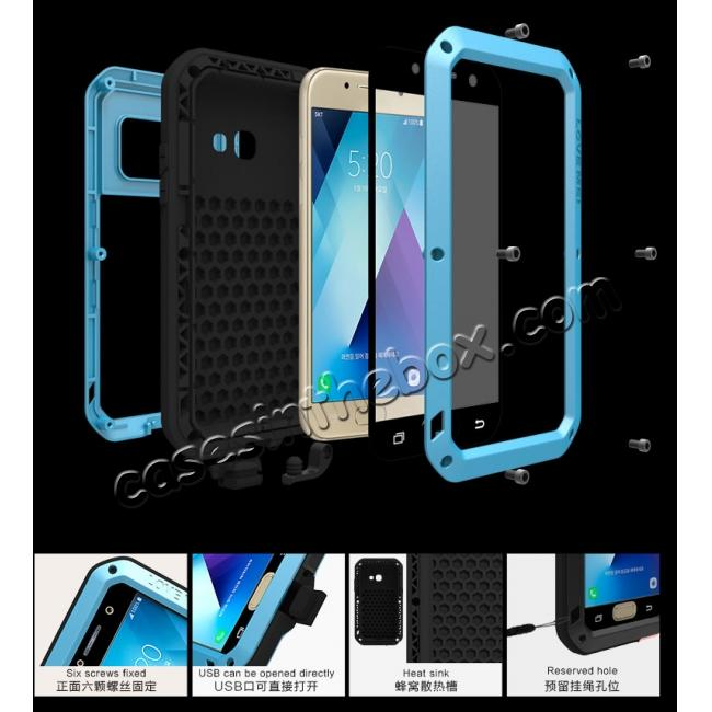 best price Shockproof Dustproof Waterproof Aluminum Tempered Glass Case for Samsung Galaxy A5 (2017) - Blue