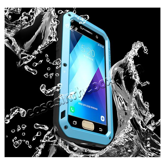low price Shockproof Dustproof Waterproof Aluminum Tempered Glass Case for Samsung Galaxy A5 (2017) - Blue