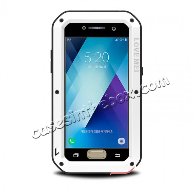 wholesale Shockproof Dustproof Waterproof Aluminum Tempered Glass Case for Samsung Galaxy A5 (2017) - White