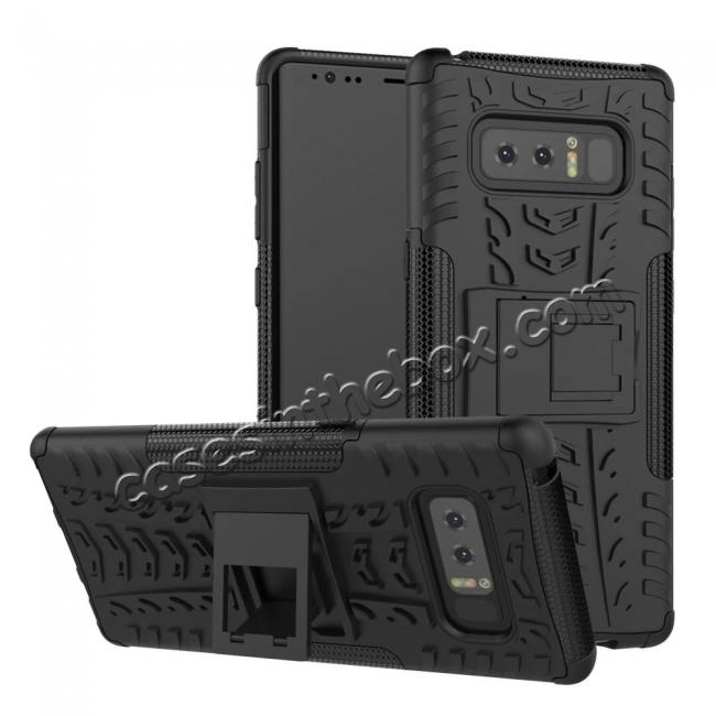 wholesale Shockproof TPU&PC Hybrid Stand Case Cover For Samsung Galaxy Note 8 - Black