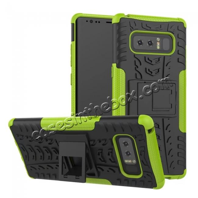 wholesale Shockproof TPU&PC Hybrid Stand Case Cover For Samsung Galaxy Note 8 - Green