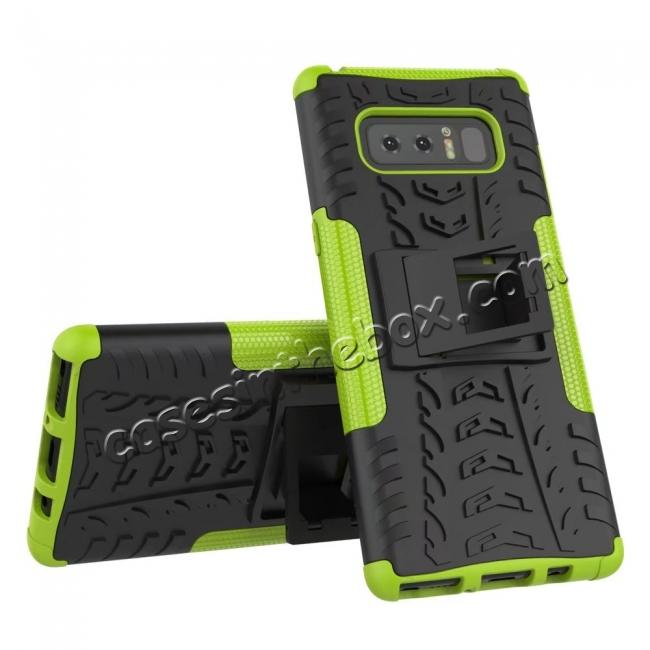discount Shockproof TPU&PC Hybrid Stand Case Cover For Samsung Galaxy Note 8 - Green