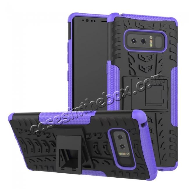 wholesale Shockproof TPU&PC Hybrid Stand Case Cover For Samsung Galaxy Note 8 - Purple