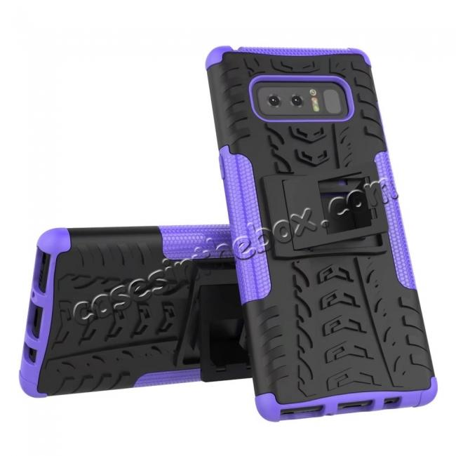 discount Shockproof TPU&PC Hybrid Stand Case Cover For Samsung Galaxy Note 8 - Purple