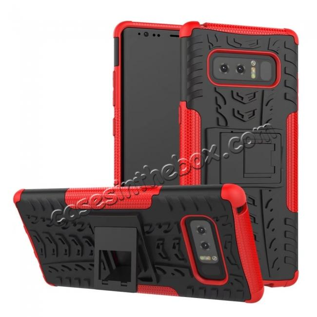 wholesale Shockproof TPU&PC Hybrid Stand Case Cover For Samsung Galaxy Note 8 - Red