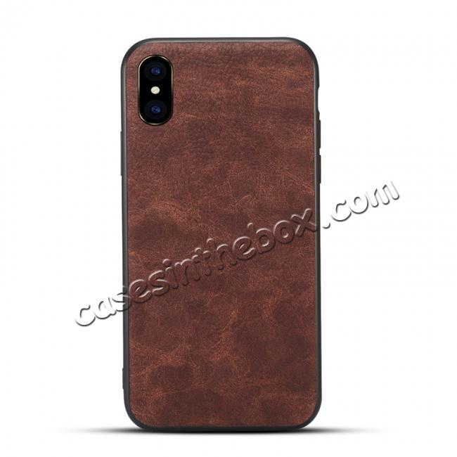 wholesale Slim Retro Leather Case Back Cover Skin For iPhone X - Coffee