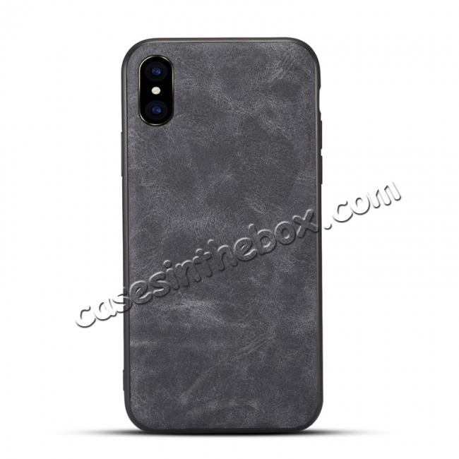 wholesale Slim Retro Leather Case Back Cover Skin For iPhone X - Dark Gray
