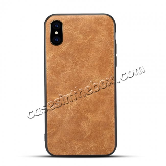 wholesale Slim Retro Leather Case Back Cover Skin For iPhone X - Light Brown