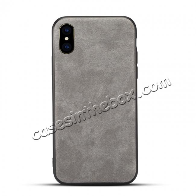 wholesale Slim Retro Leather Case Back Cover Skin For iPhone X - Light Gray