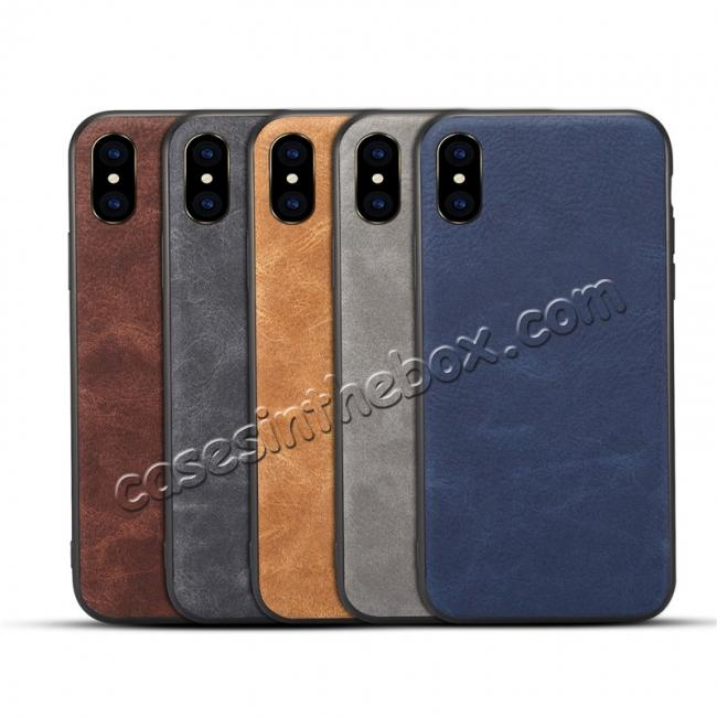 best price Slim Retro Leather Case Back Cover Skin For iPhone X - Light Gray