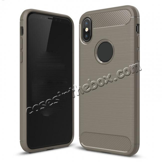 wholesale TPU Carbon Fiber Scratch Resilient Shock Absorption Protective Silicone Case for iPhone X - Grey