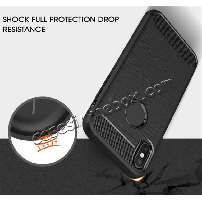 top quality TPU Carbon Fiber Scratch Resilient Shock Absorption Protective Silicone Case for iPhone X - Grey