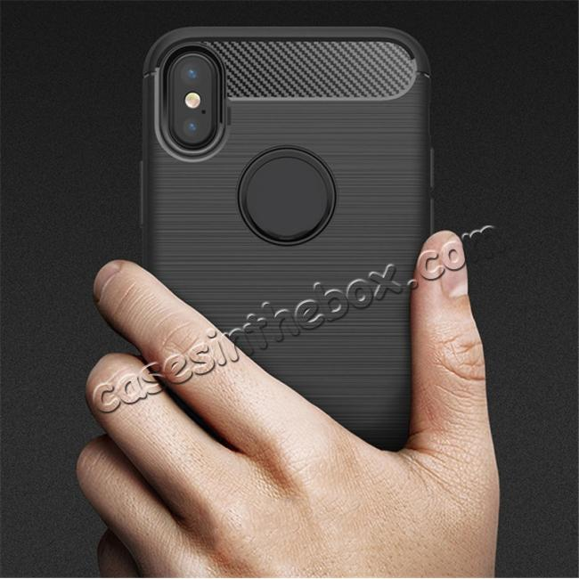 on sale TPU Carbon Fiber Scratch Resilient Shock Absorption Protective Silicone Case for iPhone X - Grey
